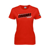 Ladies Red T Shirt-Cougars #SIUENATION