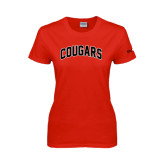 Ladies Red T Shirt-Arched Cougars
