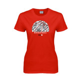 Ladies Red T Shirt-Basketball Texture Ball