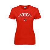 Ladies Red T Shirt-Basketball Half Ball