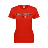 Ladies Red T Shirt-Cross Country Arrow