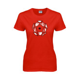 Ladies Red T Shirt-Geometric Soccer Ball