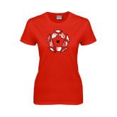 Ladies Red T Shirt-Geometric Soccer Ball