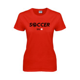 Ladies Red T Shirt-Soccer Halftone Ball