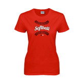 Ladies Red T Shirt-Softball Seams