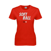 Ladies Red T Shirt-Softball Polygon Text