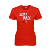 Ladies Red T Shirt-Softball Polygon Text