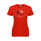 Ladies Red T Shirt-Abstract Tennis Ball