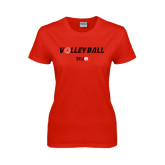 Ladies Red T Shirt-Volleyball w/ Ball