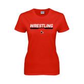 Ladies Red T Shirt-Wrestling Bar