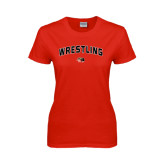 Ladies Red T Shirt-Wrestling Arched