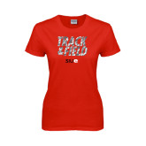 Ladies Red T Shirt-Track and Field Polygon Texture