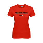 Ladies Red T Shirt-Track and Field Lines