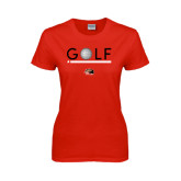 Ladies Red T Shirt-Golf Star and Stripes