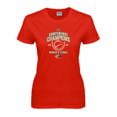 Ladies Red T Shirt-2016 Womens Tennis Conference Champions