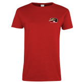 Ladies Red T Shirt-SIUE Cougars Official Logo