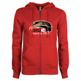 ENZA Ladies Red Fleece Full Zip Hoodie-Track and Field