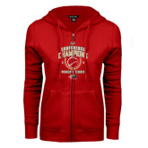 ENZA Ladies Red Fleece Full Zip Hoodie-2016 Womens Tennis Conference Champions