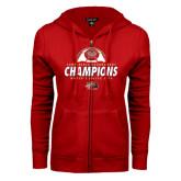 ENZA Ladies Red Fleece Full Zip Hoodie-2016 Womens Soccer Champions