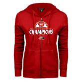 ENZA Ladies Red Fleece Full Zip Hoodie-2016 Mens Soccer Champions