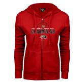 ENZA Ladies Red Fleece Full Zip Hoodie-2016 Womens Volleyball Champions