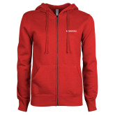 ENZA Ladies Red Fleece Full Zip Hoodie-Institutional Mark