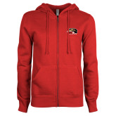 ENZA Ladies Red Fleece Full Zip Hoodie-SIUE Cougars Official Logo