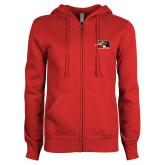 ENZA Ladies Red Fleece Full Zip Hoodie-SIUE Cougars Official Logo