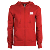 ENZA Ladies Red Fleece Full Zip Hoodie-SIUE
