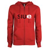ENZA Ladies Red Fleece Full Zip Hoodie-SIUE