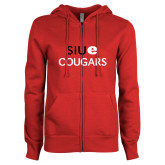 ENZA Ladies Red Fleece Full Zip Hoodie-SIUE Cougars Stacked
