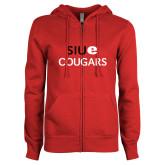 ENZA Ladies Red Fleece Full Zip Hoodie-SIUE Cougars Stacked