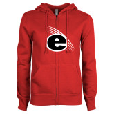 ENZA Ladies Red Fleece Full Zip Hoodie-e Slash Mark