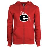 ENZA Ladies Red Fleece Full Zip Hoodie-e Slash Mark