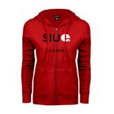 ENZA Ladies Red Fleece Full Zip Hoodie-Alumni