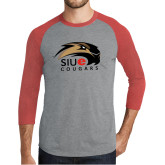 Grey/Red Heather Tri Blend Baseball Raglan-SIUE Cougars Official Logo