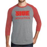 Grey/Red Heather Tri Blend Baseball Raglan-SIUE