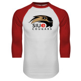 White/Red Raglan Baseball T-Shirt-SIUE Cougars Official Logo