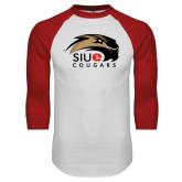 White/Red Raglan Baseball T-Shirt-SIUE Cougars Official Logo