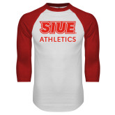 White/Red Raglan Baseball T-Shirt-SIUE