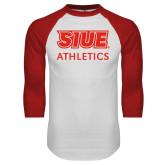 White/Red Raglan Baseball T-Shirt-SIUE