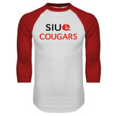 White/Red Raglan Baseball T-Shirt-SIUE Cougars Stacked