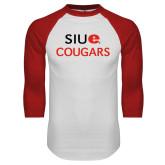 White/Red Raglan Baseball T-Shirt-SIUE Cougars Stacked