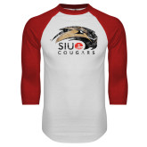 White/Red Raglan Baseball T-Shirt-SIUE Cougars Official Logo Distressed