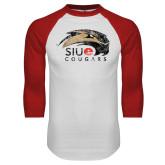 White/Red Raglan Baseball T-Shirt-SIUE Cougars Official Logo Distressed