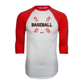 White/Red Raglan Baseball T-Shirt-Baseball Seams
