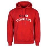 Red Fleece Hoodie-SIUE Arched Cougars