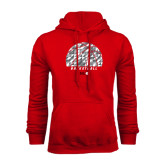 Red Fleece Hoodie-Basketball Texture Ball