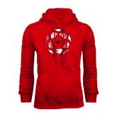 Red Fleece Hoodie-Geometric Soccer Ball