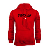 Red Fleece Hoodie-Soccer Halftone Ball